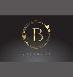 Letter b logo with golden circle frames vector