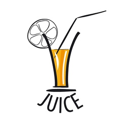 Logo of fresh juice in a glass vector