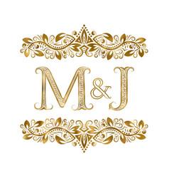 M and j vintage initials logo symbol letters vector