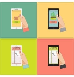 Mobile shopping and news vector image