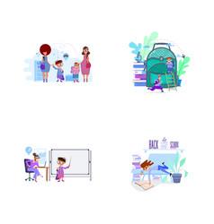 moms lead children to school concept vector image