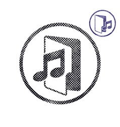 Music folder icon with halftone dots print texture vector