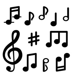 musical notes isolated on white background signs vector image