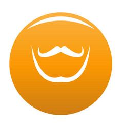 Mustache and beard icon orange vector
