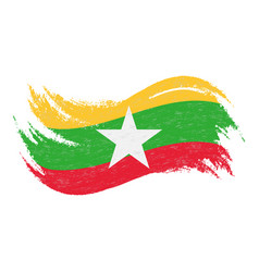 National flag of myanmar designed using brush vector
