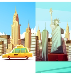New York Two Vertical Banners vector