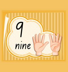 number nine hand gesture vector image