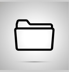 open folder symbol simple black icon with shadow vector image