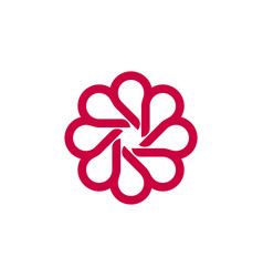 ornamental blossom flower logo template vector image