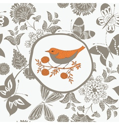 Pastel birds print vector