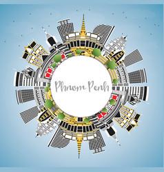 Phnom penh cambodia city skyline with color vector