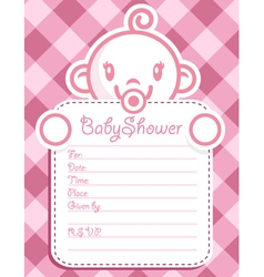 Pink Baby Girl Invitation vector image