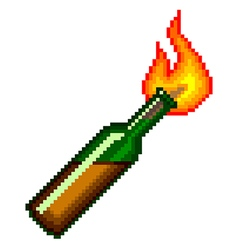 Pixel Molotov cocktail isolated vector