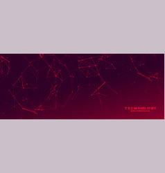 Red banner with network wire mesh vector