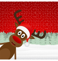 reindeer peeking side in the forest vector image