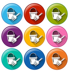 Round buttons with a toy pail and fork vector image