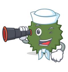 Sailor with binocular durian mascot cartoon style vector