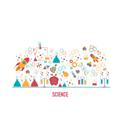 science icons in flat design concept vector image