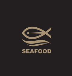 seafood icon with fish vector image