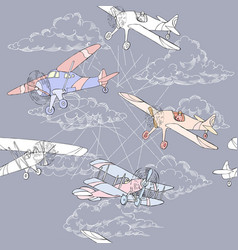 seaml colors airplanes-15 vector image