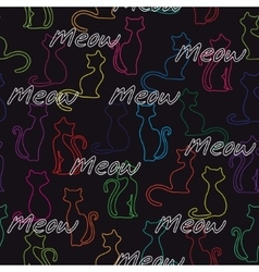Seamless background with colorful cats vector image