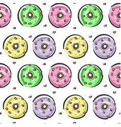 seamless pattern with glazed donut with hearts vector image