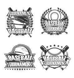 set baseball badge vector image