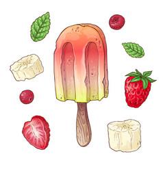 set ice cream raspberry cherry banana hand vector image