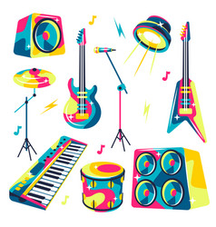 set musical instruments vector image