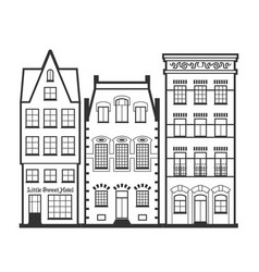 set of 3 line style amsterdam old houses facades vector image
