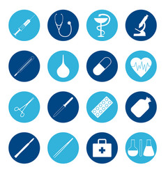 Set of medical icons on color background vector