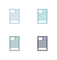Set of paper stickers on white background document vector