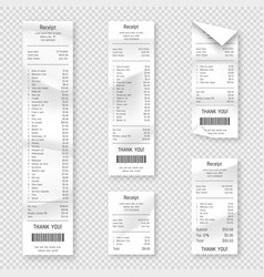 set paper receipts isolated on background vector image