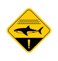 Shark warning sign with sea waves vector