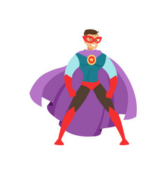 Smiling man character dressed as a super hero vector