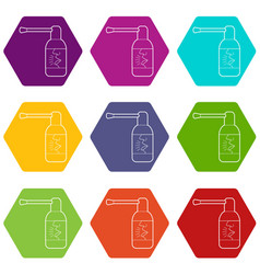 spray for throat icons set 9 vector image