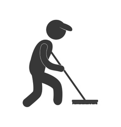 Sweeper clean broom figure pictogram vector