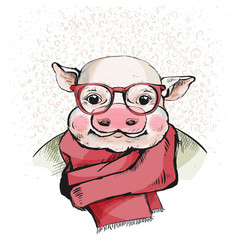 The portrait of a cute piglet in glasses vector