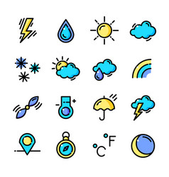thin line weather icons set vector image