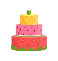 Three Layered Cake With Strawberry Watermelon And vector
