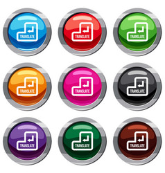 translate button set 9 collection vector image
