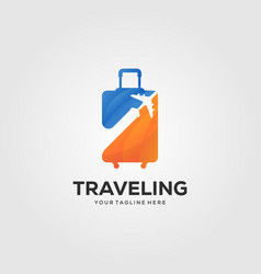 traveling suitcase logo design vector image
