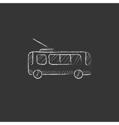 Trolleybus Drawn in chalk icon vector