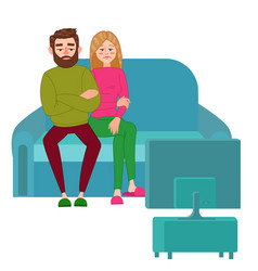 Unhappy couple watching tv television addiction vector