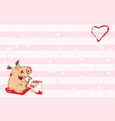 Valentines card with cute pig vector