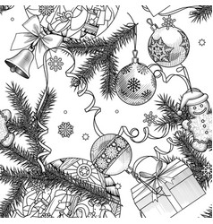 vintage engraving christmas seamless pattern vector image