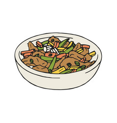 Vintage of stir fry chicken vector