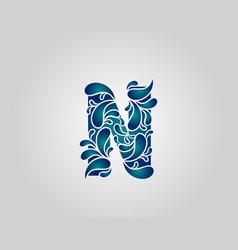 Water splash letter n logo icon droplets vector