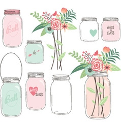 Wedding Flower with Mason Jar vector