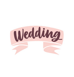 Wedding word handwritten with cursive calligraphic vector
